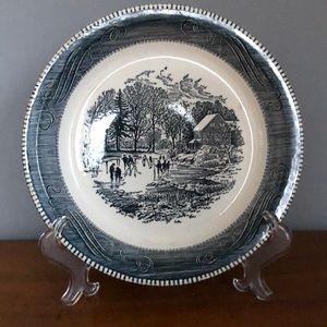 Antique Stoneware Winter Scene Pie Plate